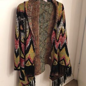 Multi-Colored Cardigan w/ fringed bottom